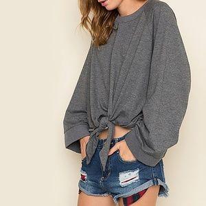 Chic Rebel Cropped Tie Wide Cuff Sleeve Sweatshirt